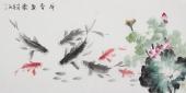 花鸟名家李春江四尺横幅国画鱼《荷香鱼乐》