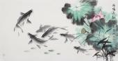 国家一级美术师李春江四尺荷花鱼《荷塘清趣》