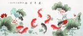 【已售】工笔名家吕存德六尺工笔九鱼图《连年有余》