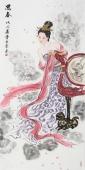 书画协会理事 李孟尧四尺竖幅美人图《思春》