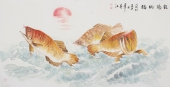 河南美协李春江四尺金龙鱼《龙德纳福》