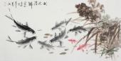 一级美术师李春江四尺横幅国画鱼《秋水潜鱗》