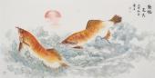 画鱼名家李春江四尺横幅双鱼图《龙德光天》
