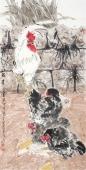辽宁美协武仲时四尺竖幅国画鸡《强者》