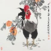 武仲时四尺斗方写意国画鸡《心想事成》