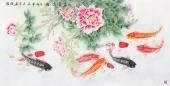 中央美院刘志高四尺横幅工笔九鱼图《富贵有余》