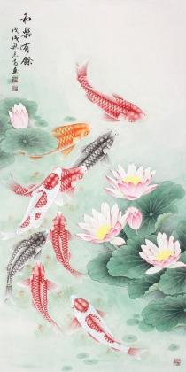 中央美院刘志高四尺竖幅精品工笔九鱼图《和乐有余》
