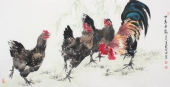 著名画鸡名家武仲时四尺国画鸡《四季平安》