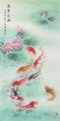 中央美院刘志高四尺竖幅工笔九鱼荷花图《连年有余》