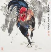 著名花鸟画名家武仲时四尺斗方写意鸡《三思图》