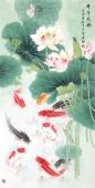 著名花鸟画家刘志高四尺工笔荷花鱼《年年有余》