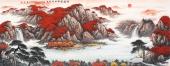 著名山水画家张哲礼写意六尺国画《鸿运当头财源广进》