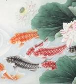 河南美协刘志高四尺工笔荷花鱼《连年有余》