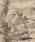 河北工笔山水画名家梁伟华四尺竖幅《草堂论道》