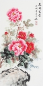 安徽美协云志三尺竖幅写意国画牡丹《花开富贵》