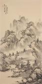 河北美协梁伟华四尺竖幅精品工笔画《蜀山悬飞瀑》