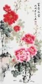 安徽美协云志三尺竖幅写意国画牡丹《富贵满堂》