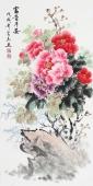 安徽美协云志三尺竖幅写意国画牡丹《富贵平安》