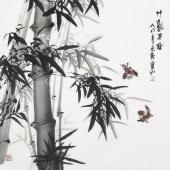 广西美协石云轩四尺写意竹子《竹报平安》