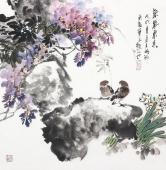 【已售】广西美协石云轩四尺斗方写意紫藤《紫气东来》