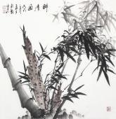 【已售】广西美协石云轩四尺斗方写意竹子《醉清风》