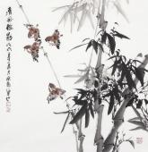 广西美协石云轩四尺斗方写意竹子《清风摇影》