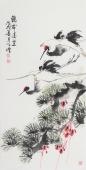 河北美协王学增 三尺写意花鸟《鹤舞凌空》