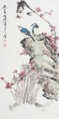 河北美协王学增 三尺写意花鸟《迎春》