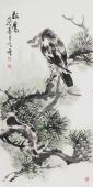 河北美协王学增 三尺写意花鸟《松鹰》