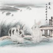 安徽美协云志国画斗方《双兔》