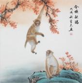 【已售】安徽美协云志国画斗方《金猴献瑞》