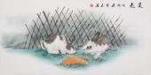 安徽美协云志四尺工笔动物画《双兔》