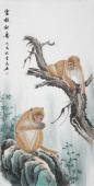安徽美协云志国画工笔四尺竖副《灵猴献寿》