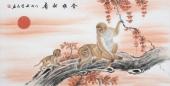 安徽美协云志四尺工笔动物画《金猴献寿》