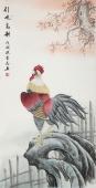 安徽美协云志国画工笔四尺竖副《引吭高歌》