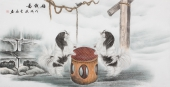 安徽美协云志国画工笔四尺横幅《嘻戏图》