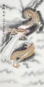 【已售】安徽美协云志国画工笔四尺竖副《龙行天下》