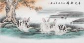 安徽美协云志四尺工笔动物画《玉兔献瑞》