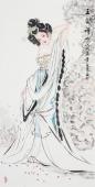 中国书画协会李孟尧精品写意四尺竖幅人物画《玉簪禅心》