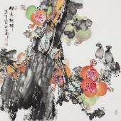 【询价】一级美术师闫海春写意斗方花鸟《留香献瑞》