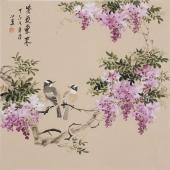 【已售】河南美协皇甫小喜斗方花鸟画《紫气东来》