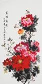 【已售】广西美协赵君梅四尺竖副《花开富贵》'