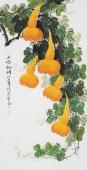 【已售】广西美协黄艺四尺竖副写意国画葫芦《五福临门》