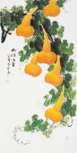 广西美协黄艺四尺竖副写意国画葫芦《福禄满堂》