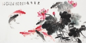 【已售】广西美协石云轩四尺写意国画鱼《连年有余》