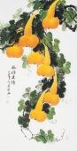 【已售】广西美协黄艺四尺竖副写意国画葫芦《福禄连绵》