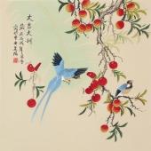 北京美协凌雪四尺斗方工笔画《大吉大利》