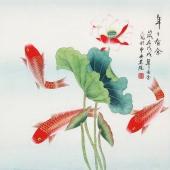 北京美协凌雪四尺斗方工笔画《年年有余》