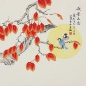 北京美协凌雪四尺斗方工笔画《秋叶承露》