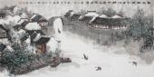 张春奇 四尺写意山水画《细雨轻梳江南情》 徐悲鸿纪念馆艺术中心理事